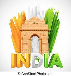 India Gate with Tricolor grungy background