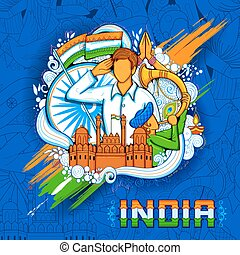 Indian background with people saluting with famous monument Red Fort for Independence Day of India