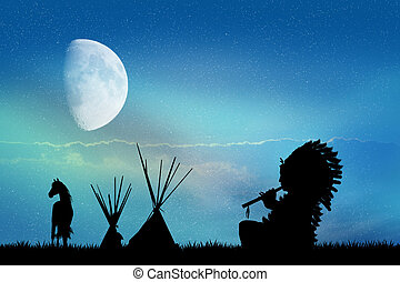 Indian silhouette in the moonlight