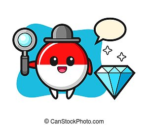 Illustration of indonesia flag badge character with a diamond