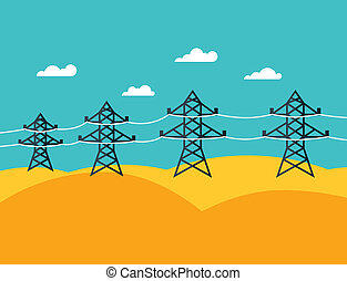 Illustration of industrial power lines in flat style.