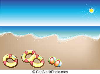 Illustration of Inflatable Rings and Beach Balls