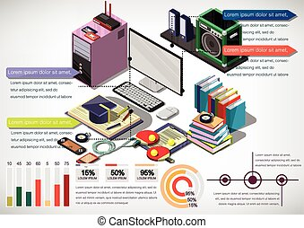 illustration of info graphic interior office concept