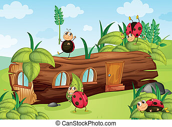 illustration of insects and house in a beautiful nature