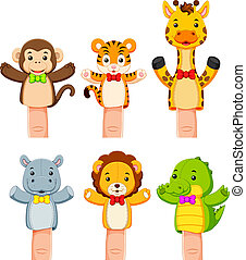 interesting collection of wild animal hand puppets -...