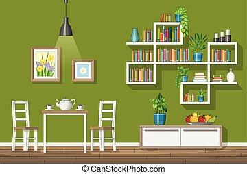 Illustration Of Interior Equipment Of A Modern Dining Room