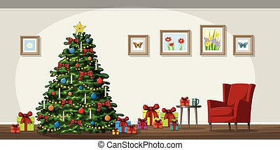 Illustration of interior equipment with christmas tree
