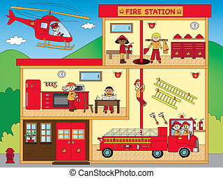 fire station - illustration of interior of fire station