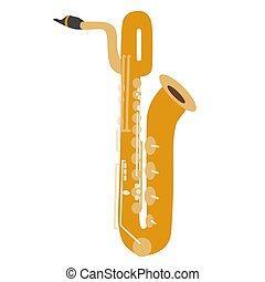 Illustration of isolated a baritone saxophone on white background