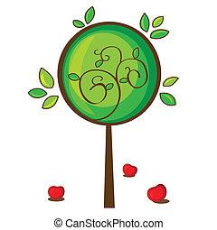 illustration of isolated apple tree