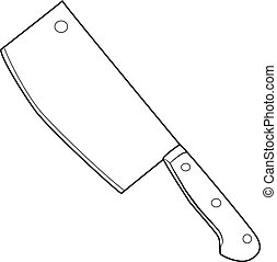 Illustration of Isolated Butcher Knife Cartoon Drawing....