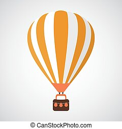 Isolated Cartoon Retro Air Balloon Vector Background Template