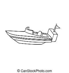 Illustration of Isolated Cartoon Speed Boat. Vector EPS8