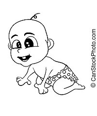 Illustration of Isolated Cartoon Stone Age Cute Cave Baby. Vector EPS 8.