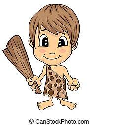 Illustration of Isolated Cartoon Stone Age Cute Cave Boy