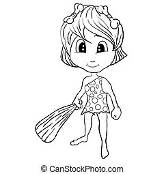 Illustration of Isolated Cartoon Stone Age Cute Cave Girl. Vector EPS 8.
