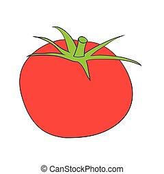 Illustration of Isolated Cartoon Tomato. Vector EPS 8.