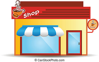 illustration of isolated coffee house on white background
