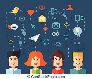 Illustration of isolated flat design people social network compo