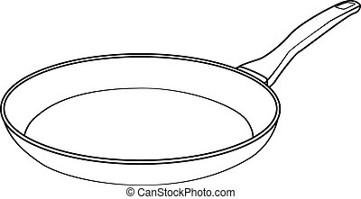 Illustration of Isolated Frying Pan Cartoon Drawing.