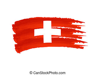 Swiss flag - Illustration of Isolated hand drawn Swiss flag