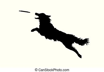 Illustration of Isolated Real Looking Dog Jumping and Catching Disc. Silhouette on White Background.