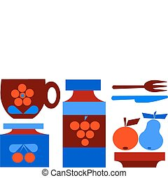 illustration of isolated set, cup and fruits