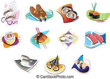 Set of sushi - illustration of isolated Set of sushi