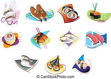 Set of sushi - illustration of isolated Set of sushi