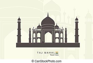 Taj Mahal in India - Illustration of isolated the Taj Mahal...