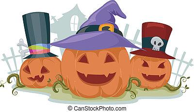 Illustration of Jack-o-Lanterns Wearing Halloween Hats