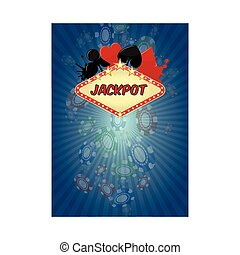 jackpot  - illustration of jackpot casino with chips fall