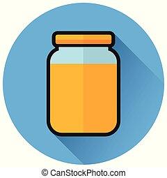 jam circle flat blue icon - Illustration of jam circle flat...
