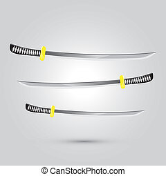 Illustration of Japanese sword ninja weapon, cartoon vector