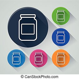 jar circle icons with shadow - Illustration of jar circle...