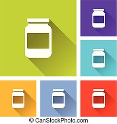 jar icons with long shadow - Illustration of jar icons with...
