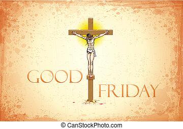 Good Friday - illustration of Jesus Christ on cross on Good ...