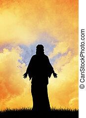 Jesus Christ - illustration of Jesus Christ silhouette at...