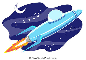 jet space in sky - illustration of jet space in sky with...