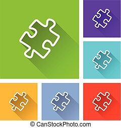 jigsaw puzzle icons with shadow