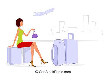 illustration of journey lady on white background
