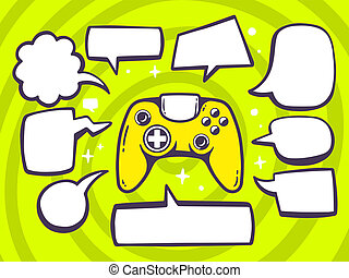 illustration of joystick with speech comics bubbles on gr