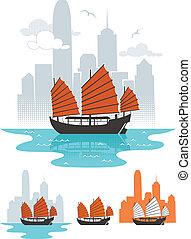 Hong Kong - Illustration of junk boat in Hong Kong. Below...