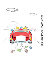 just married couple - illustration of just married couple on...