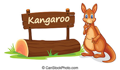 kangaroo and name plate - illustration of kangaroo and name...