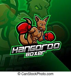 Kangoroo boxing esport mascot logo design