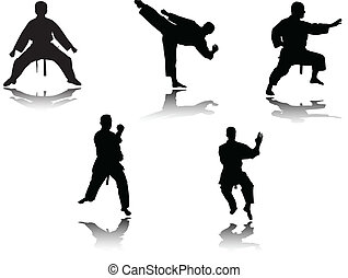 karate fighters - vector - illustration of karate fighters -...