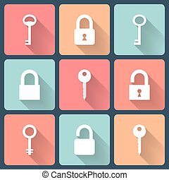 Key and padlock flat icons set