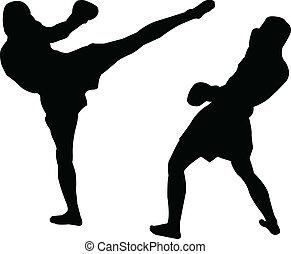 illustration of kick box - vector