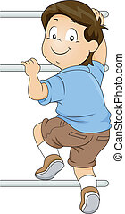 Kid Boy Climbing a Monkey Bar - Illustration of Kid Boy...